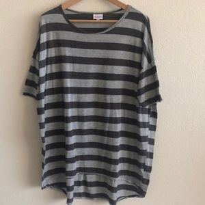 EUC LuLaRoe Irma Charcoal Gray Striped Top SZ L